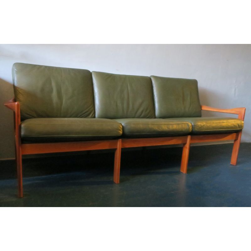 Vintage Sofa For Niels Eilersen In Green Leather And Teak Design