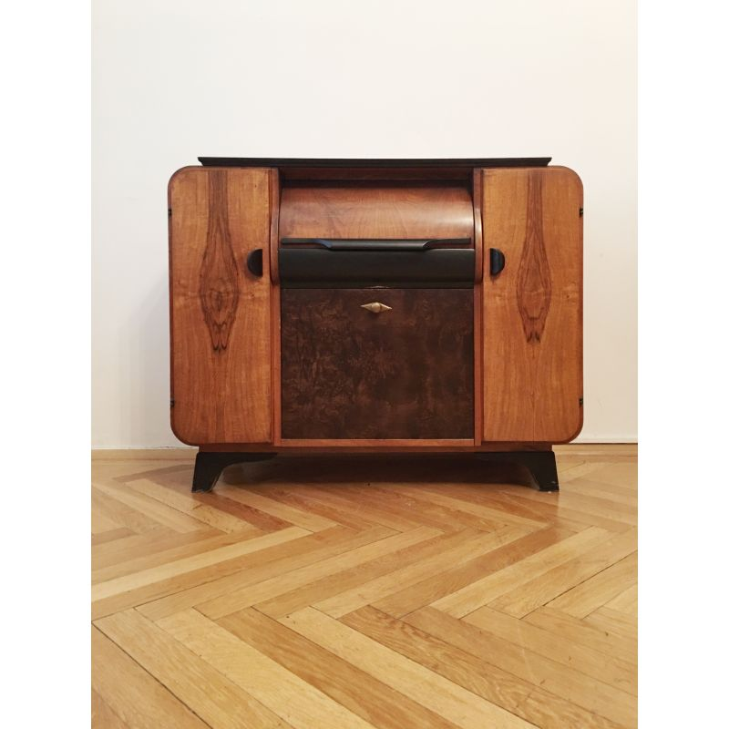 Vintage Record Player Cabinet By Jindrich Halabala For Up Zavody