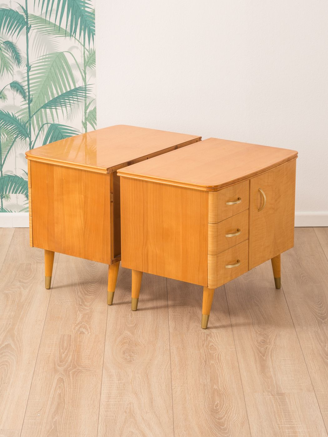 Retro Style Container Bedside Table: Set Of 2 Vintage Bedside Tables In Cherrywood 1950