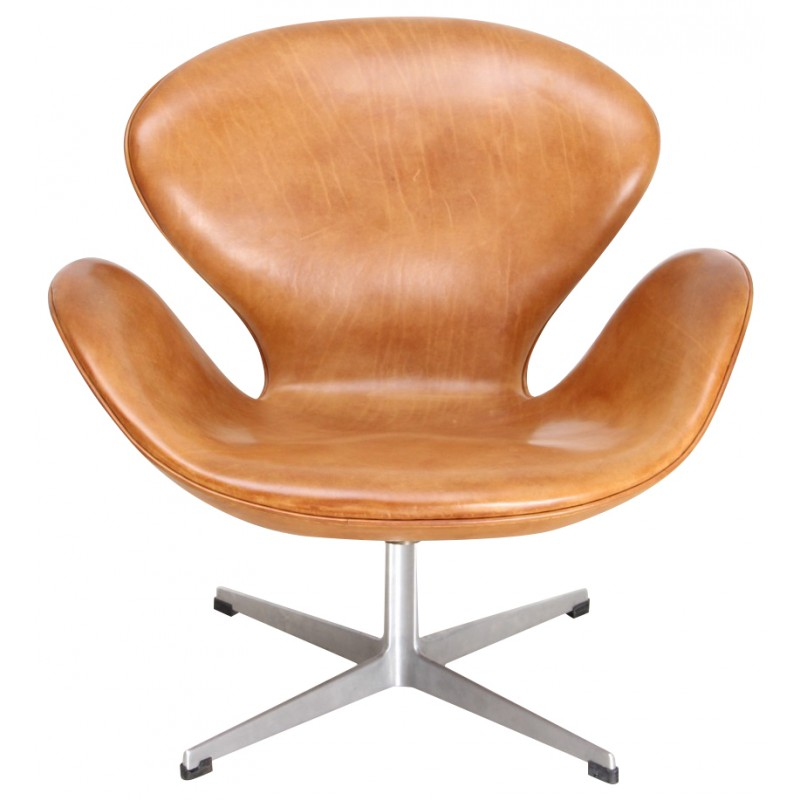 Swan Chair In Metal And Leather Arne Jacobsen 1958 Design Market