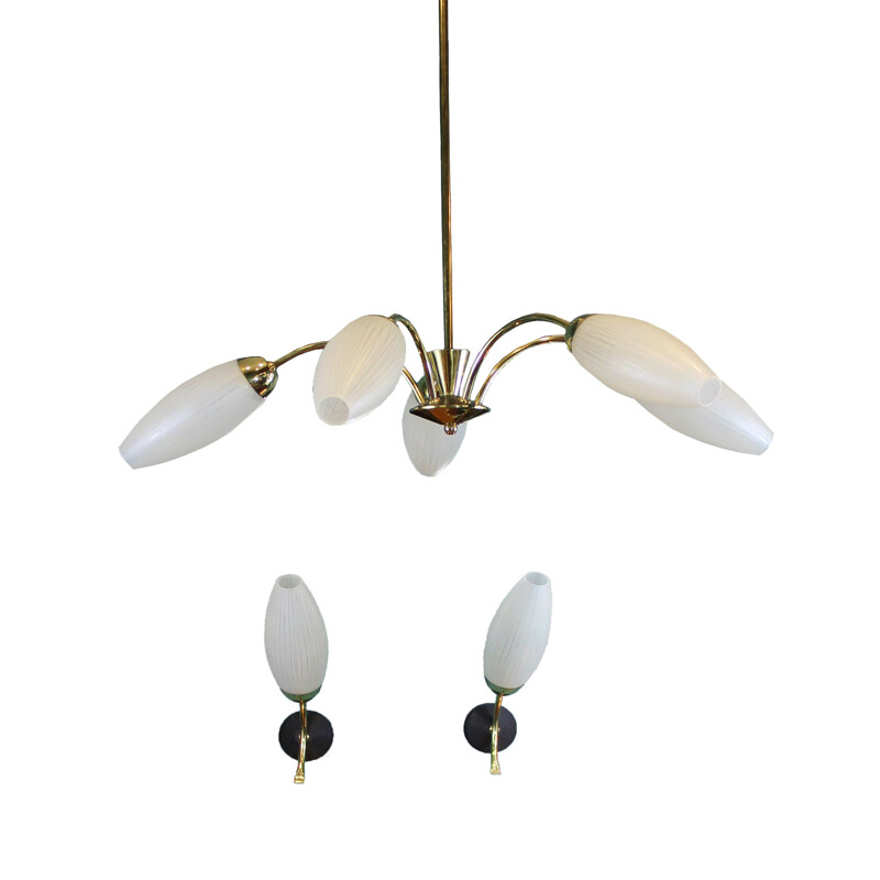 Set of Italian Chandelier with 2 assorted Sconces