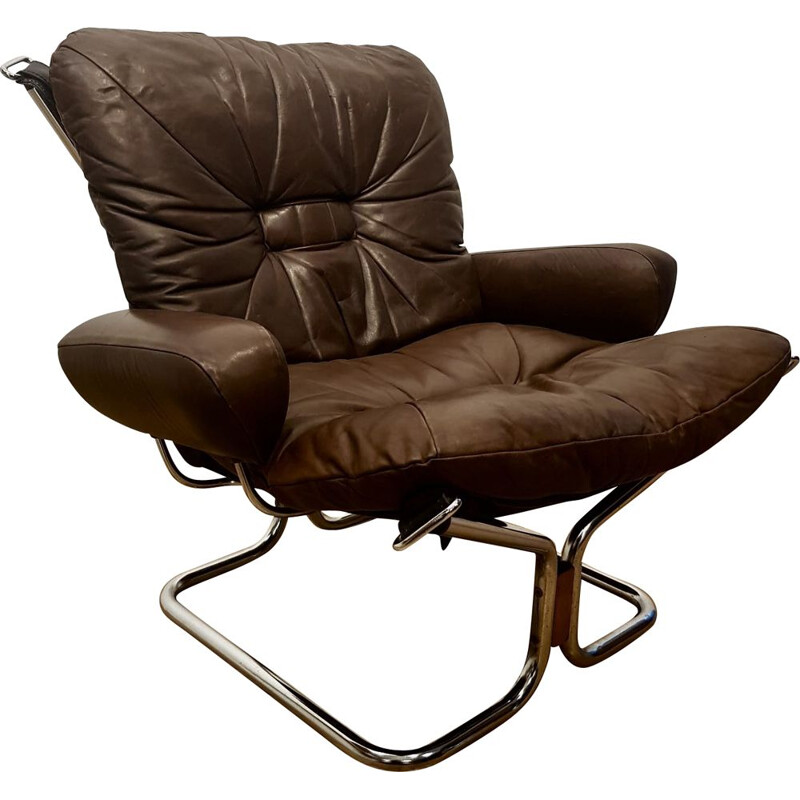 Vintage armchair for Westnofa in chocolate brown leather 1970