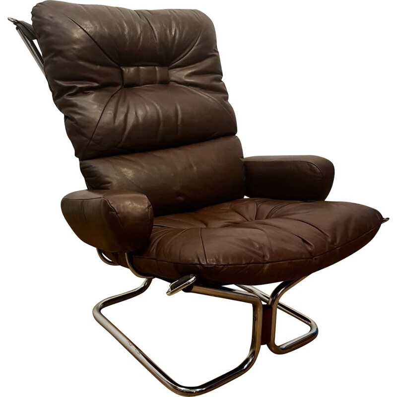 Vintage armchair for Westnofa in chocolate leather and aluminium 1970