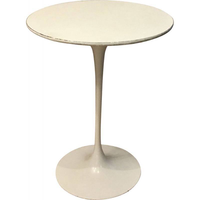 Vintage white Tulip side table for Knoll in white aluminum 1960