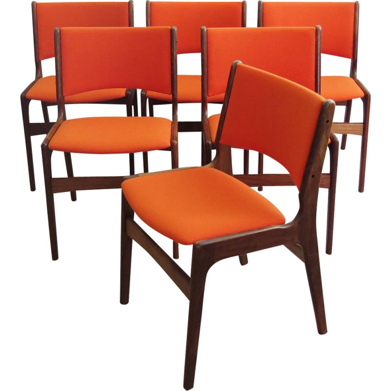 Set of 6 vintage teak chairs for Anderstrup in orange fabric 1960