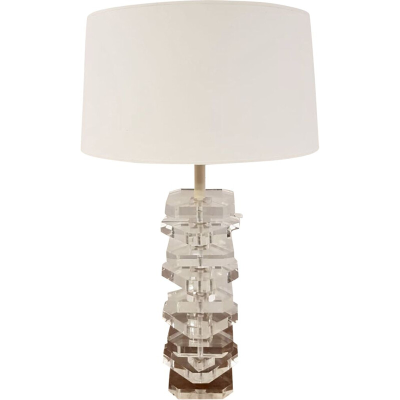 french vintage column lamp in plexiglas 1970