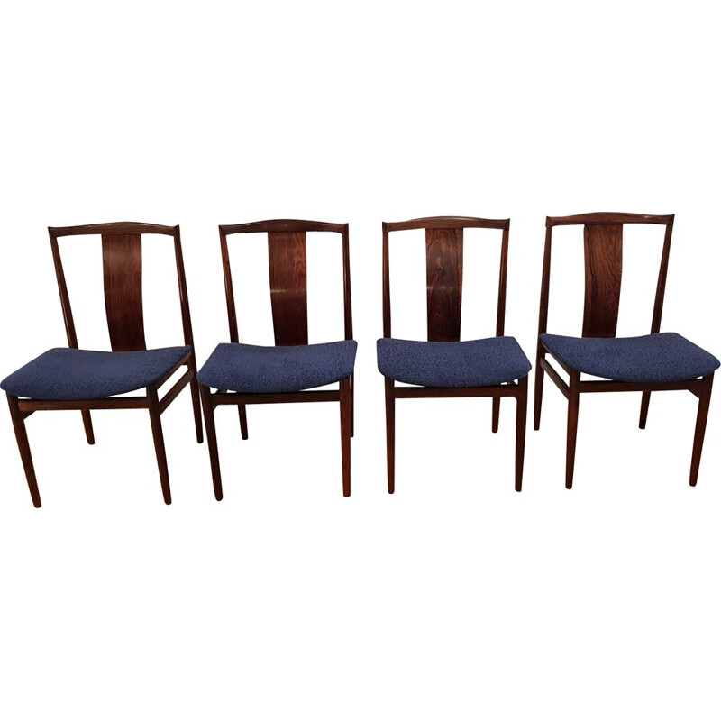 Set 4 vintage chairs for Danex in rosewood and blue fabric 1960