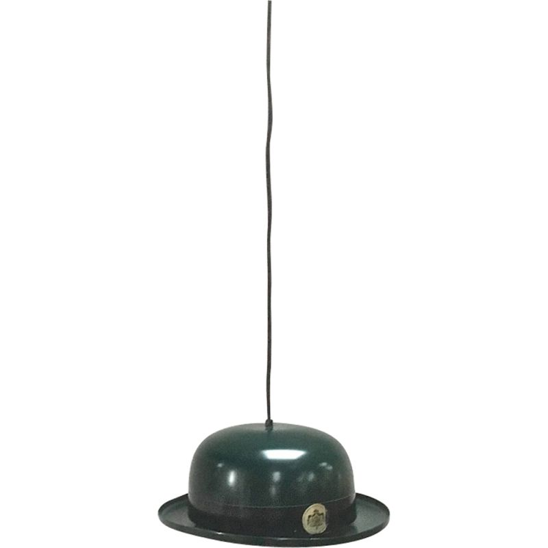 Vintage Bowler Hat pendant by Jakobsson in black aluminium