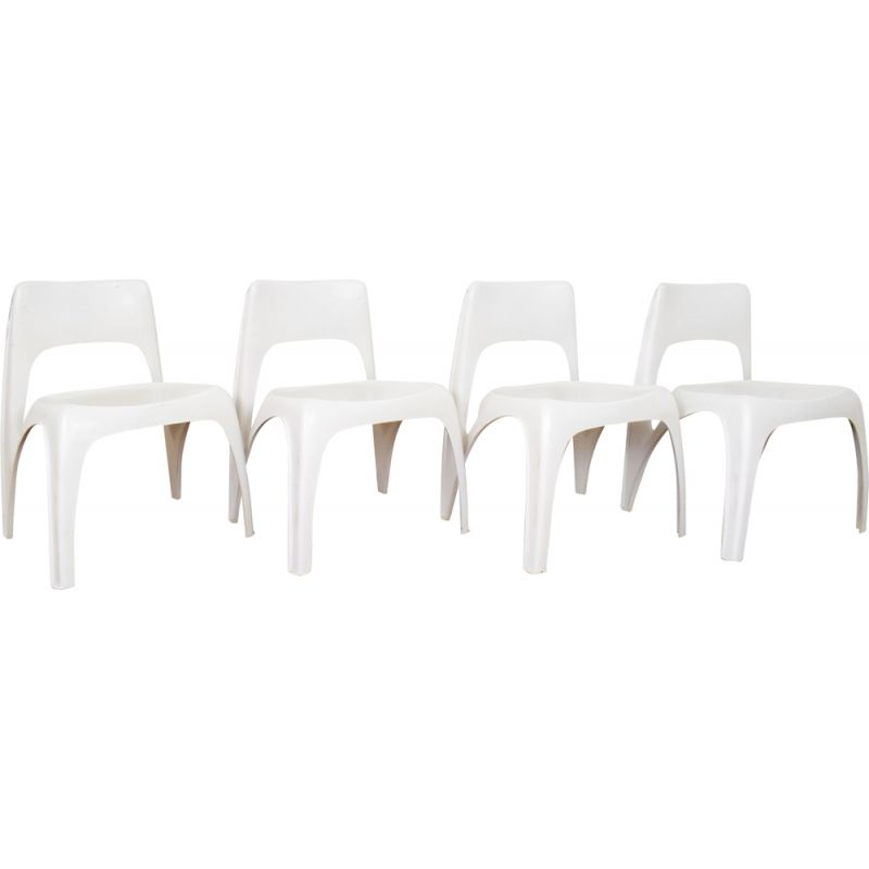 Set of 4 vintage chairs for Interplast in plastic 1970