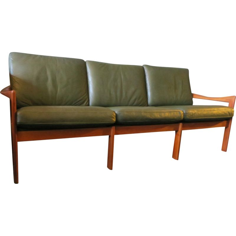 Vintage sofa for Niels Eilersen in green leather and teak