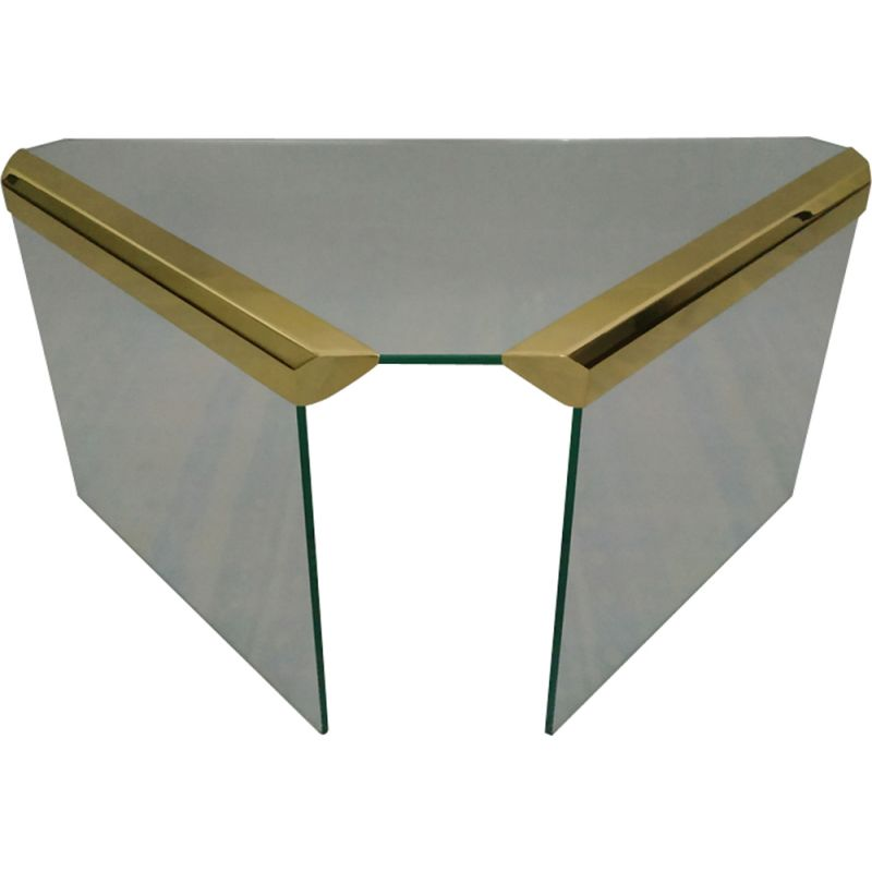 Vintage table for Gallotti & Radice in brass and glass 1970