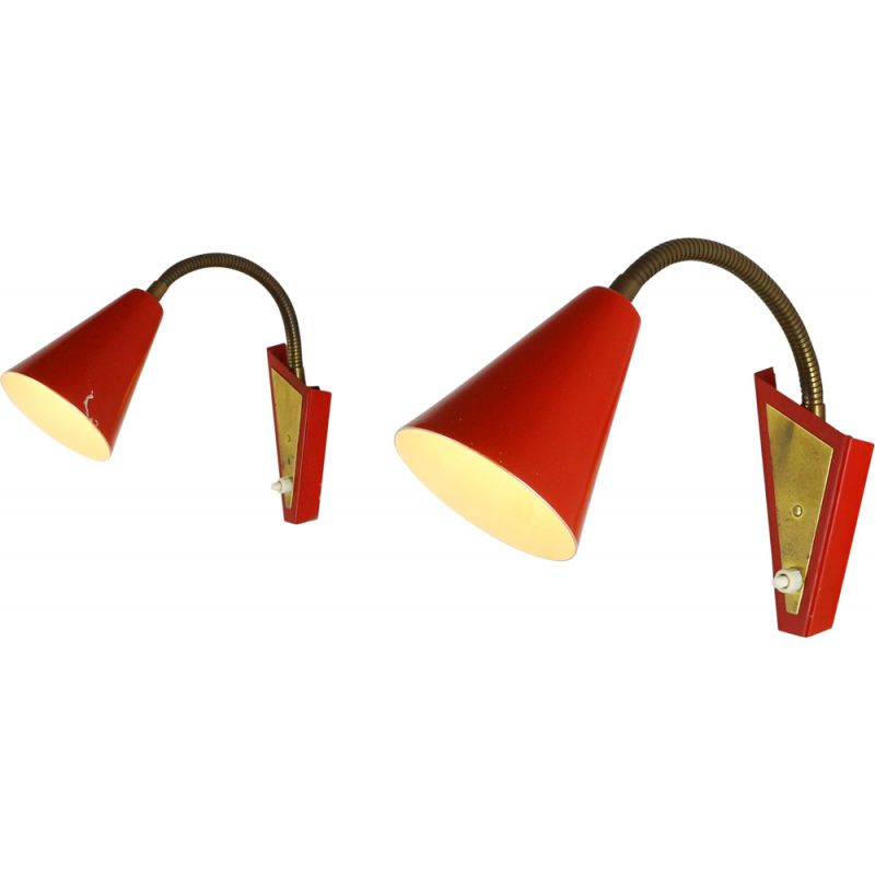 Pair of vintage wall lights in red aluminium 1960s