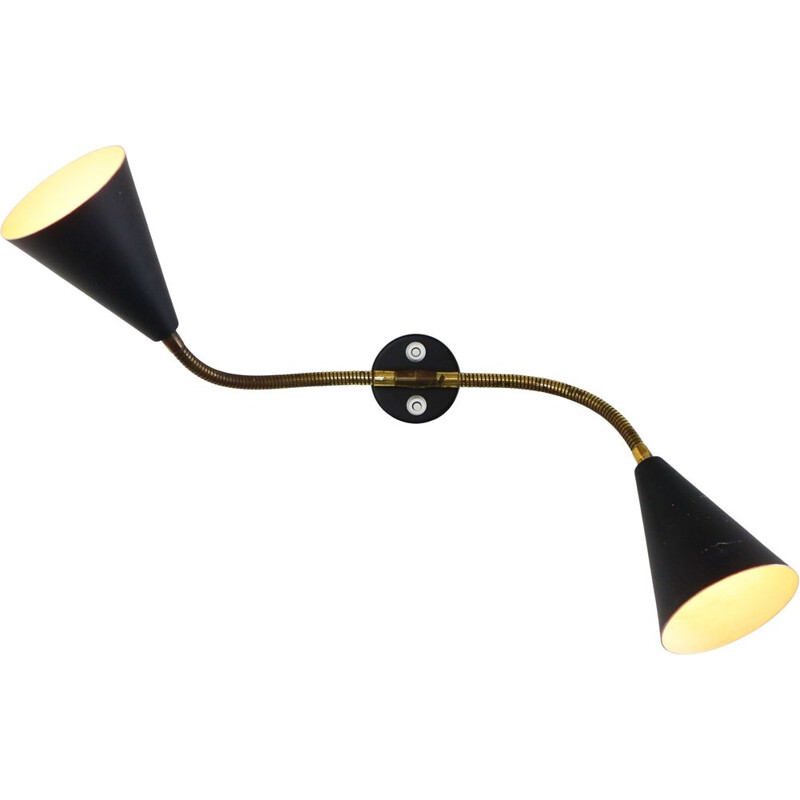 Vintage scandinavian black double wall light in aluminium 1950