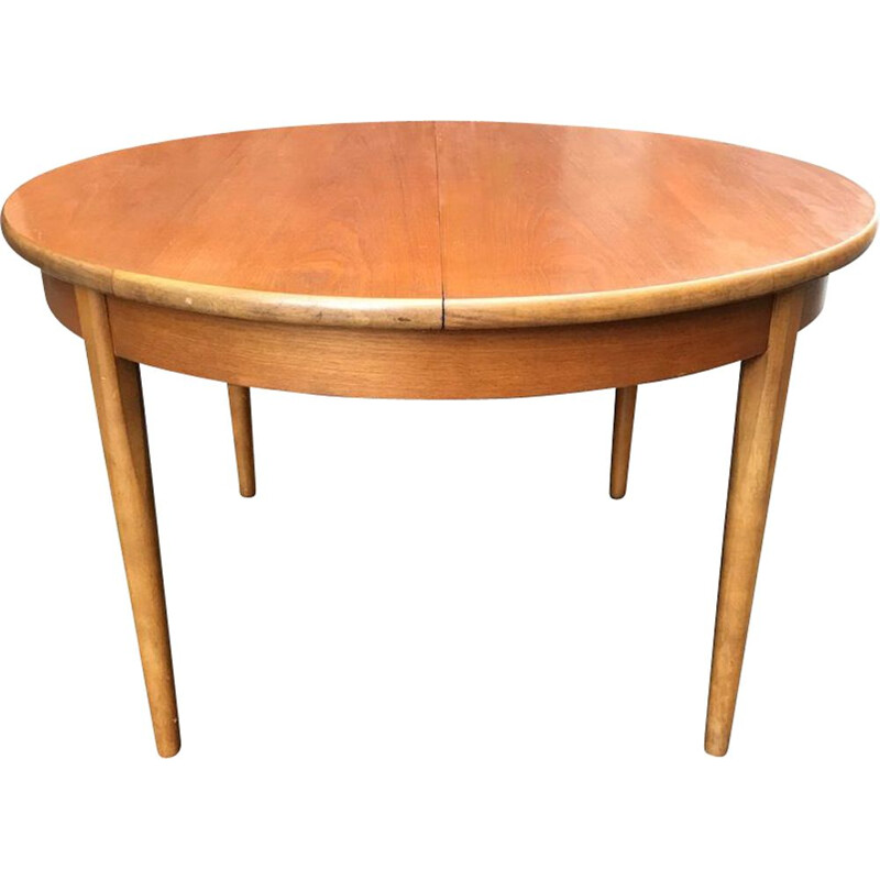 Vintage circular scandinavian wooden table 1960