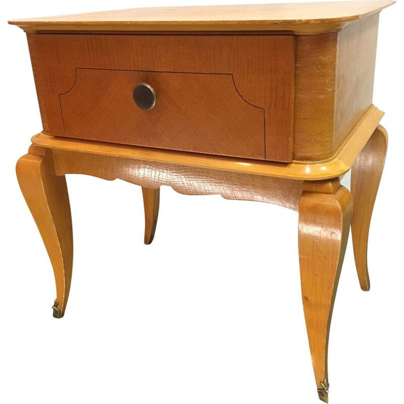 Vintage french bedside table in wood and brass 1960