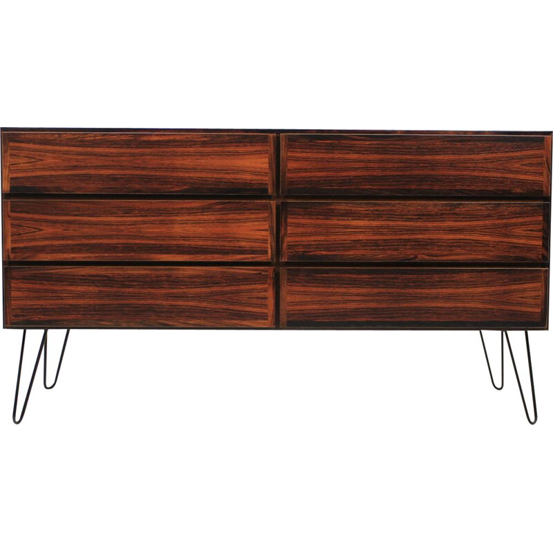 Vintage sideboard by Omann Jun in rosewood and iron 1960