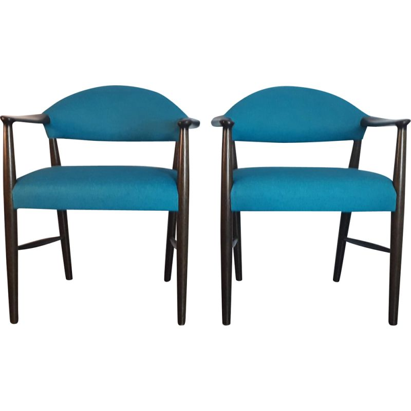 Pair of vintage chairs for Slagelse Mobelvaerk in blue fabric and beechwood 1950