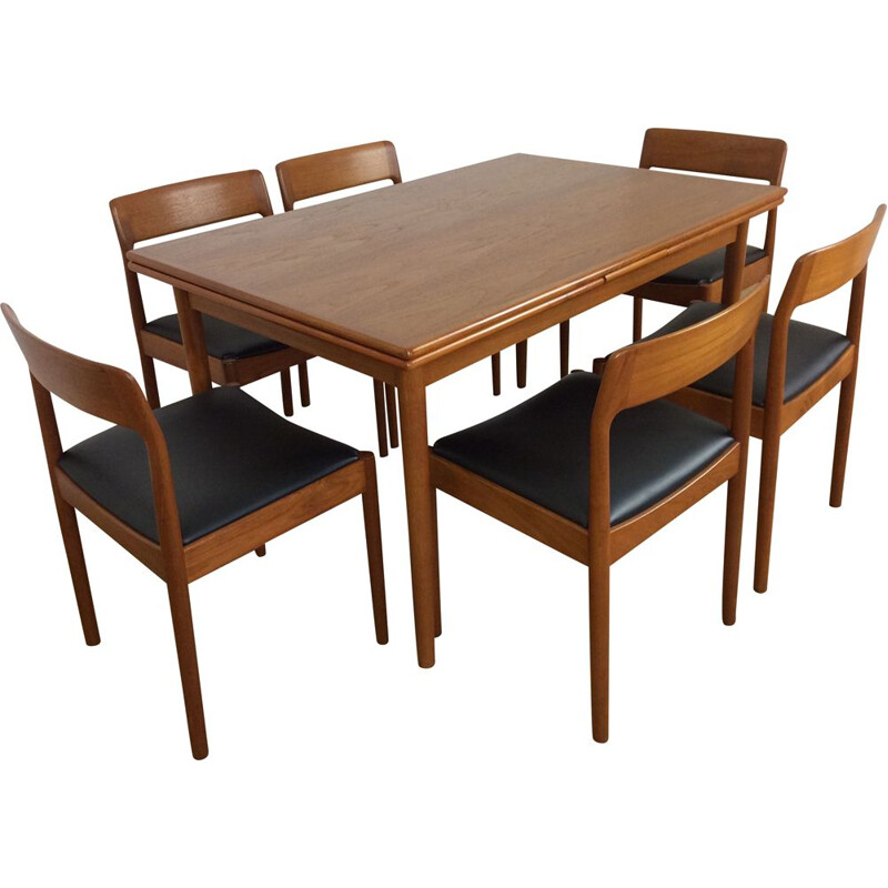 Vintage dutch dining set in teakwood for Moller 1960