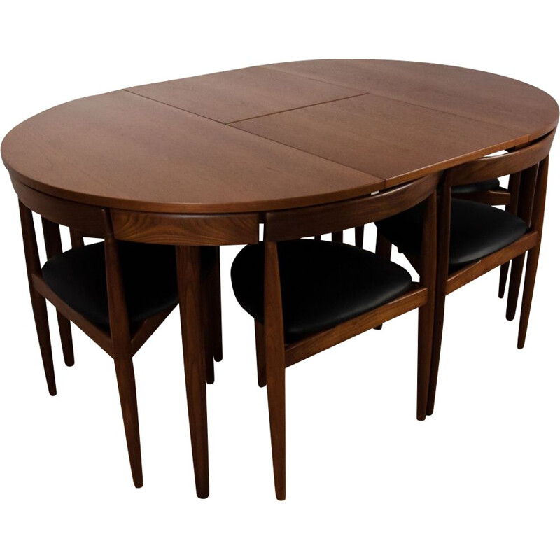 Ding set in teak with 6 chairs by Hans Olsen for Frem Røjle, 1950