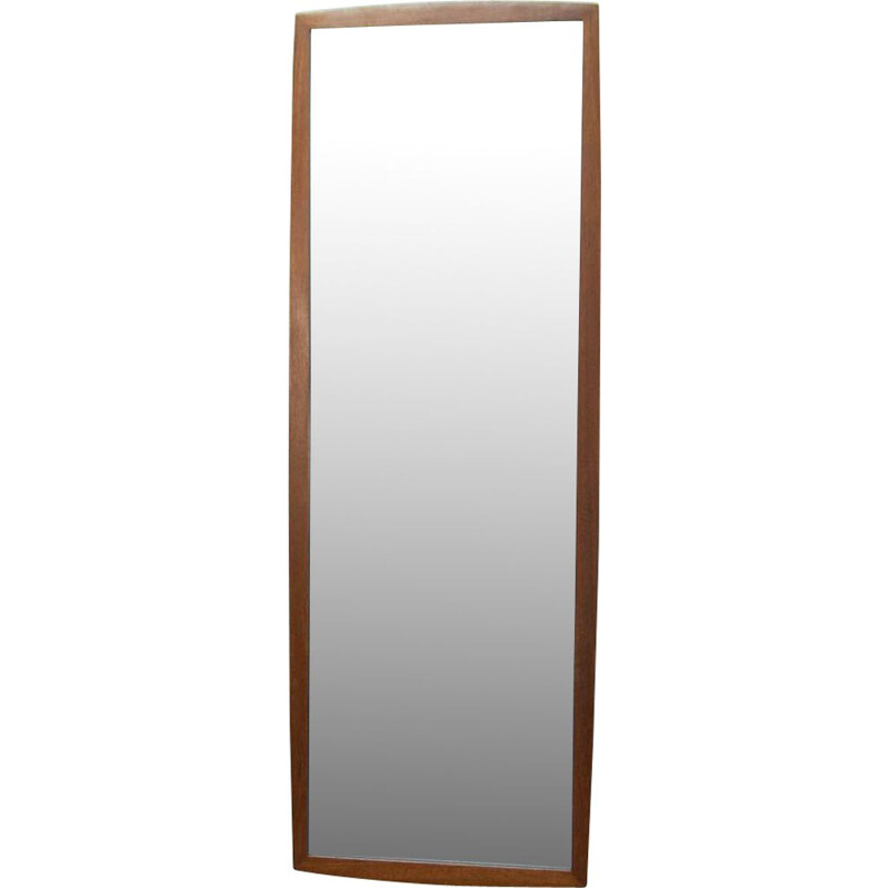 Large teak Scandinavian mirror 123cm
