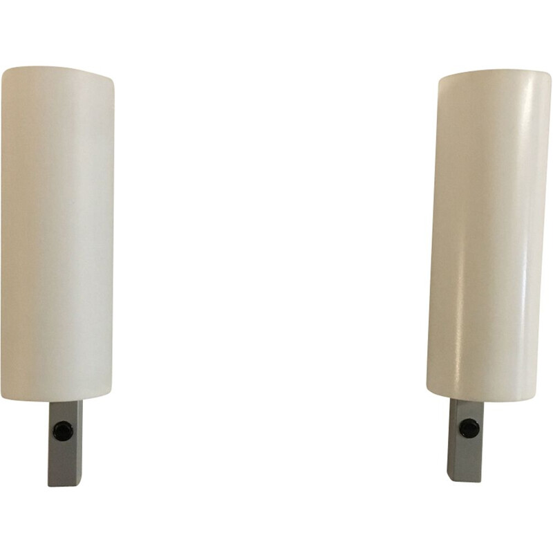 Pair of vintage white wall lamps in perspex and metal 1980