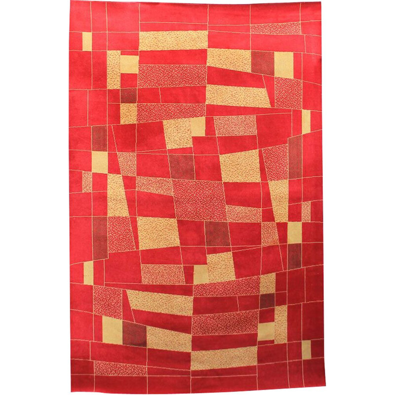 Vintage czech rug in red wool 1960