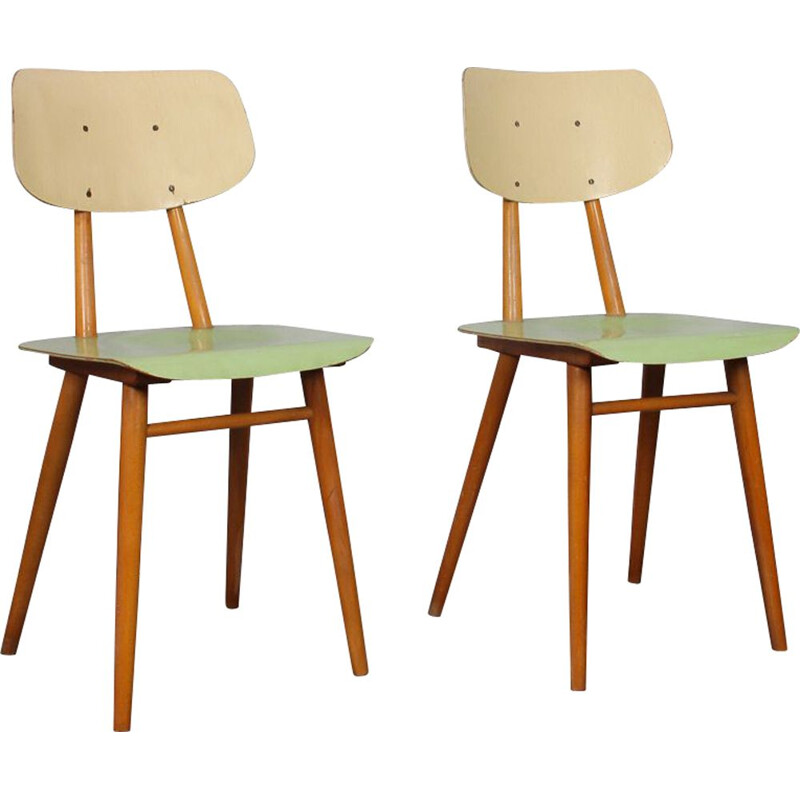 Pair of vintage green and beige chairs for TON 1960