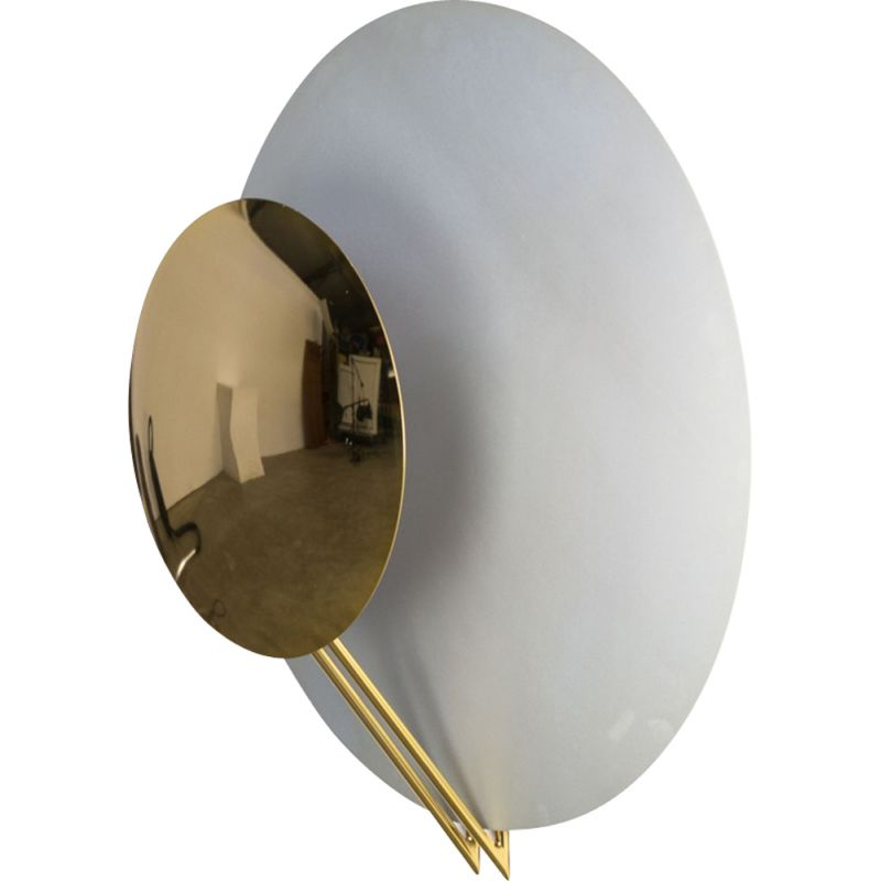 Vintage Vega wall lamp for Tre Ci Luce in brass and aluminium 1980
