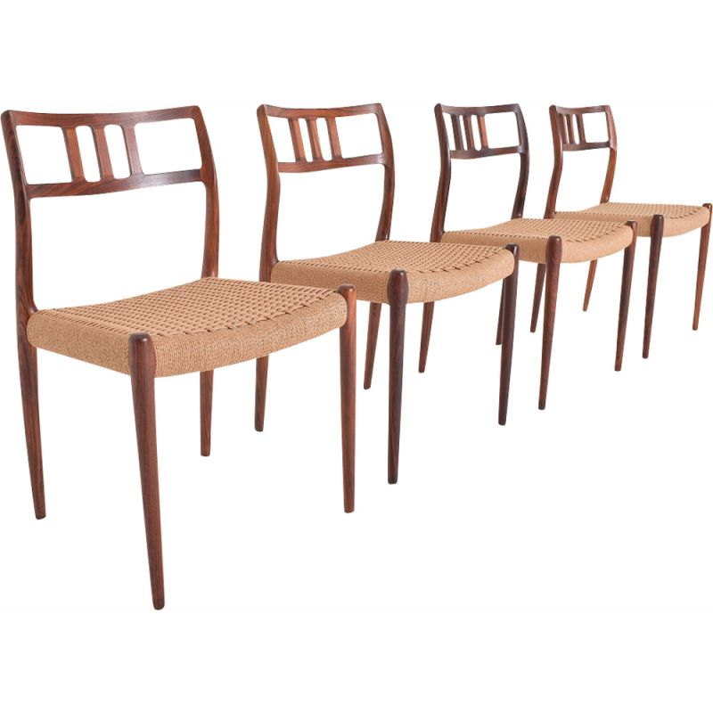 Set of 4 vintage chairs in Rio rosewood and rope 1960