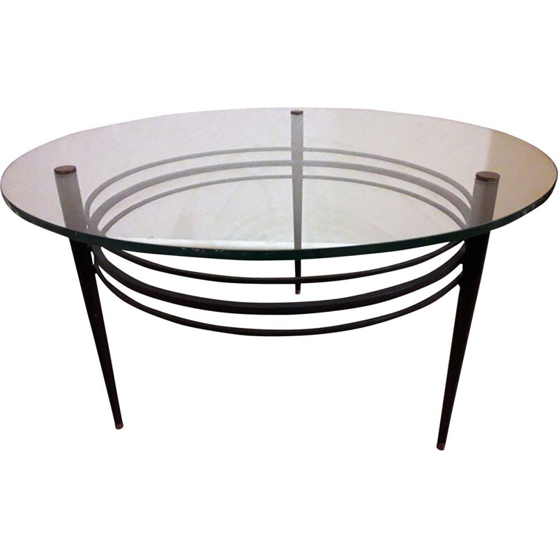 Vintage french coffee table in black metal 1960