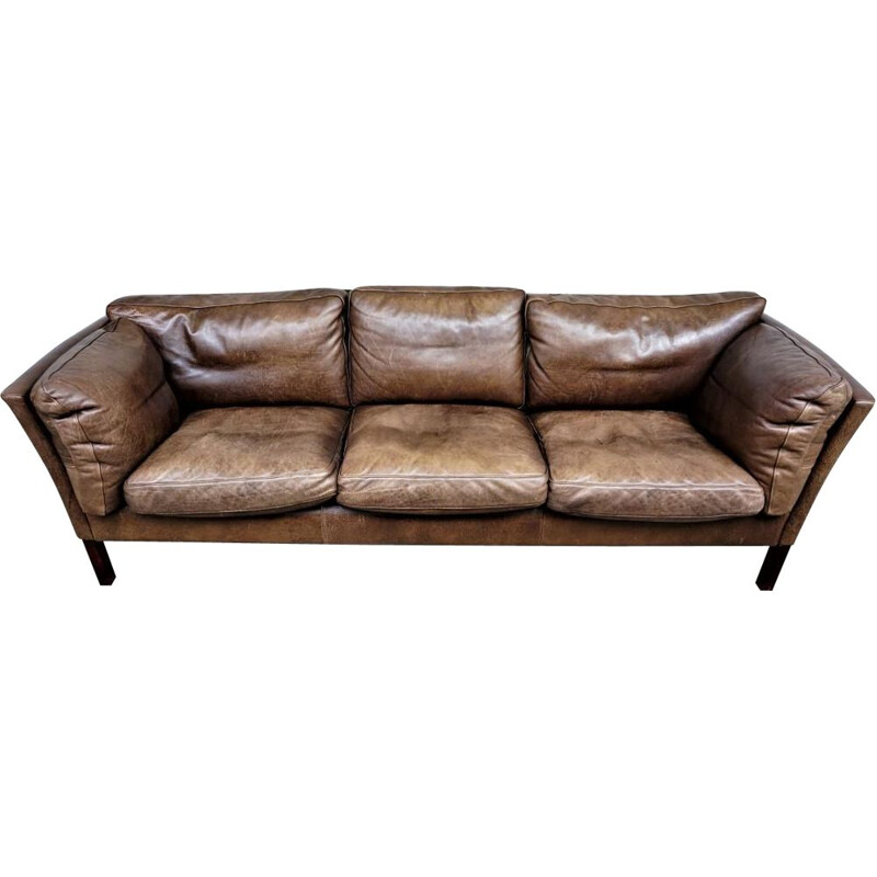 Vintage Scandinavian leather sofa