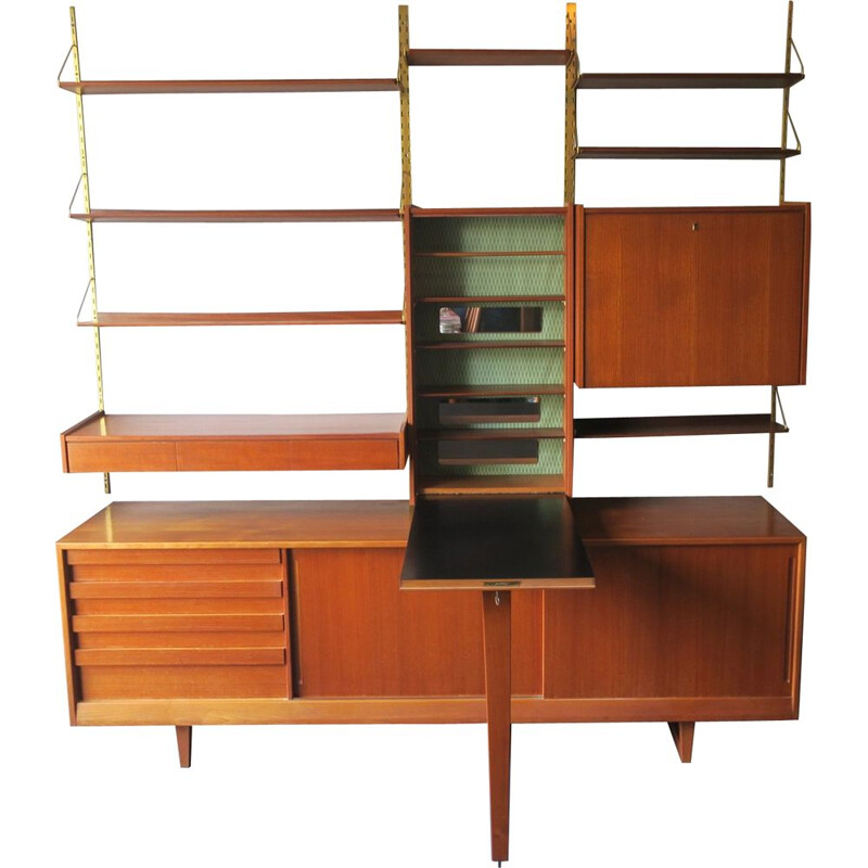 Vintage teak and brass modular wall unit