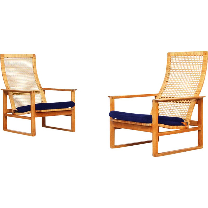 Vintage set of 2 lounge chairs by Borge Mogensen for Fredericia