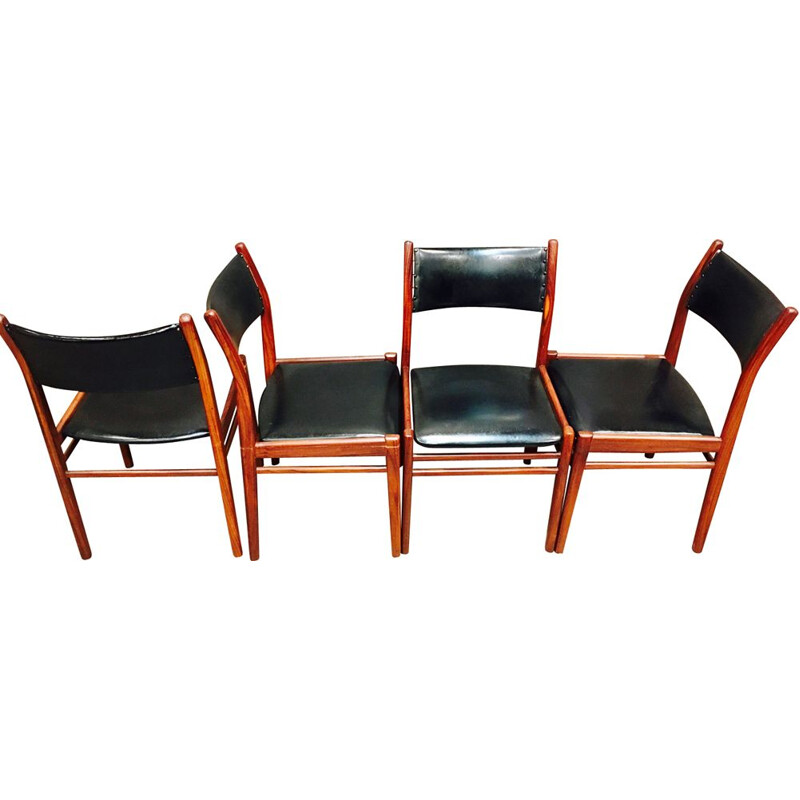 Set of 4 vintage chairs design Asko Finland