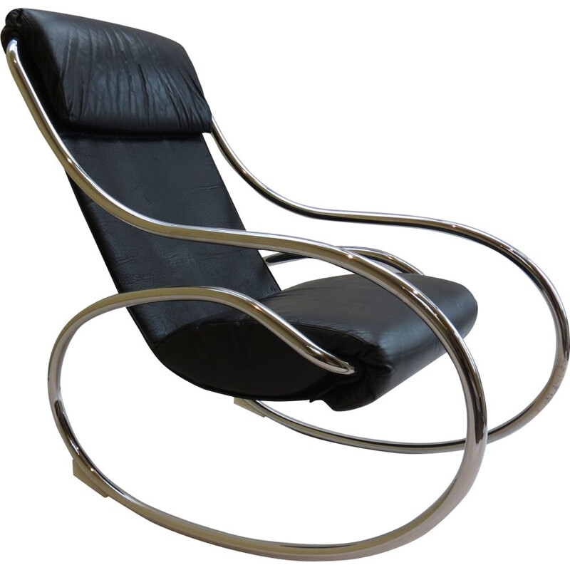 Chrome and Black Leather Rocking Chair by Heals 1970