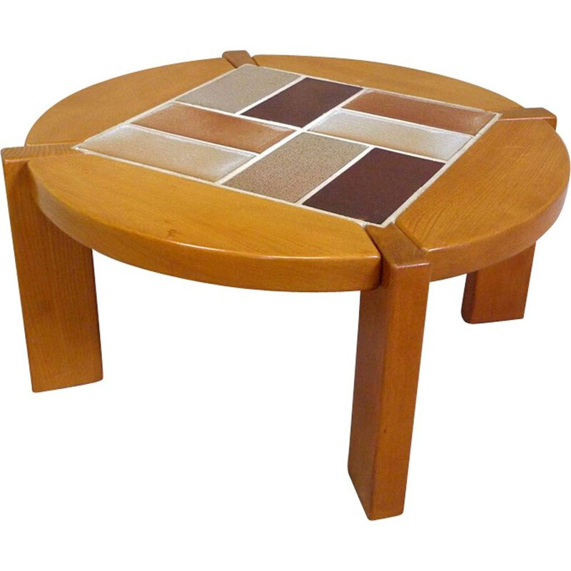 Vintage coffee table in Elm and ceramic
