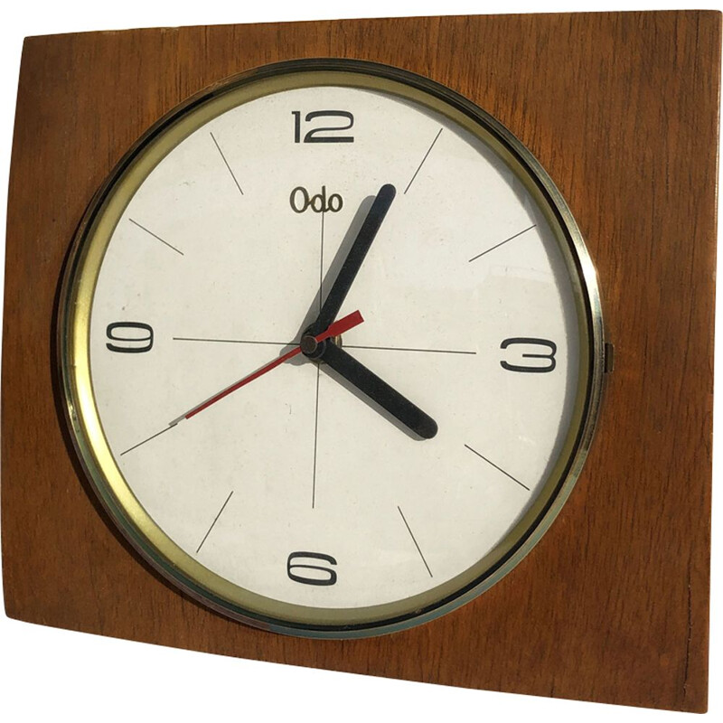 Wooden wall clock by Odo, France 1960
