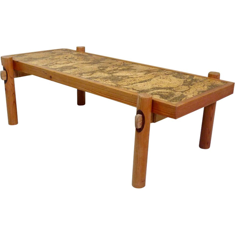 Vintage coffee table in pine and Cork
