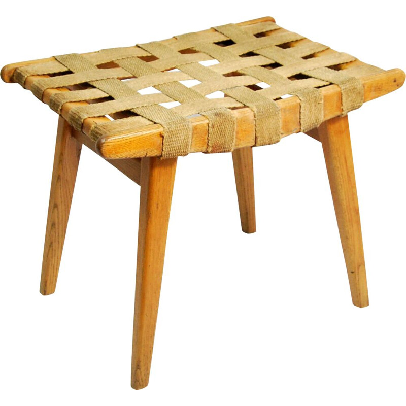 Modernistic stool with braided seat, Germany 1960