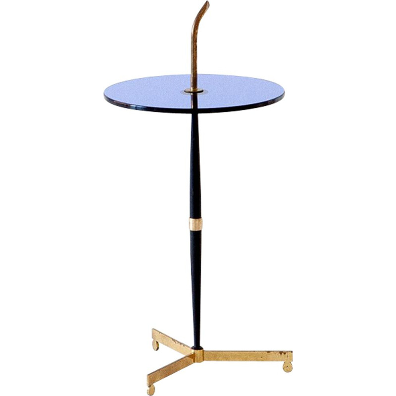 Side table in Blue Glass, Black Iron and Brass, Italy, 1950
