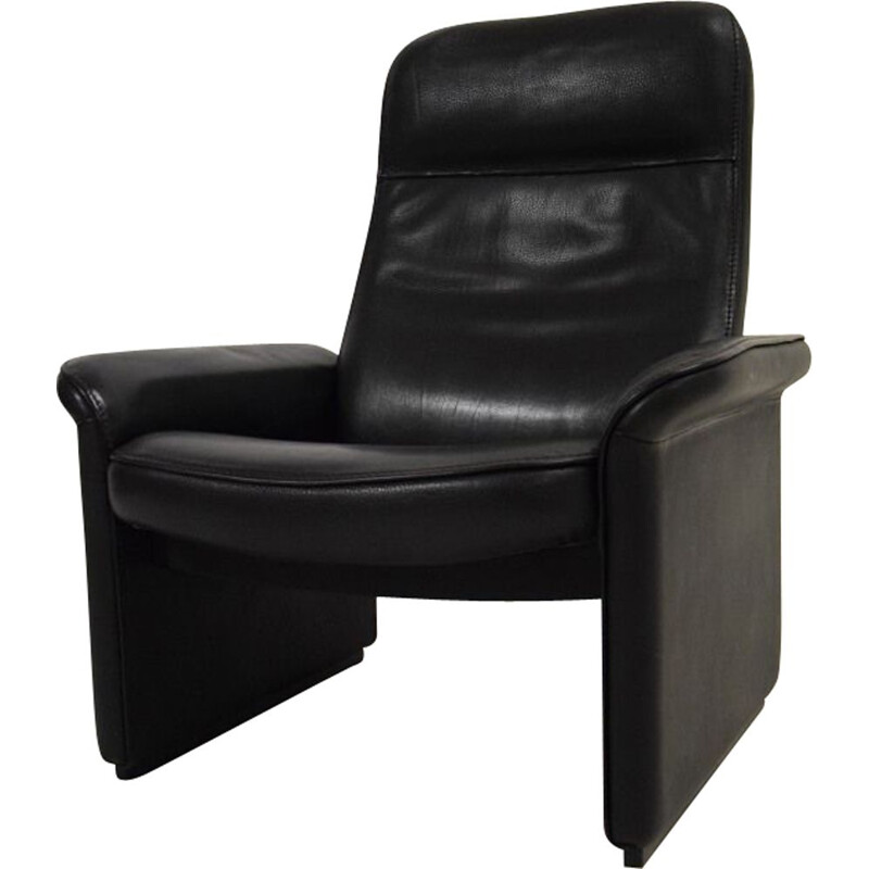 Relax black leather chair, De Sede, 1970-80s