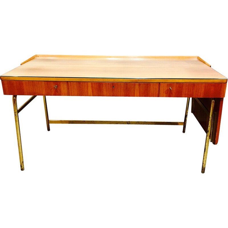 Vintage rosewood and brass desk, Scandinavian design 1950