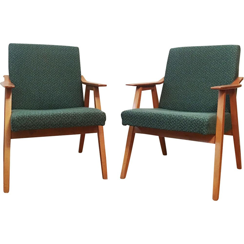 Set of 2 vintage green armchairs