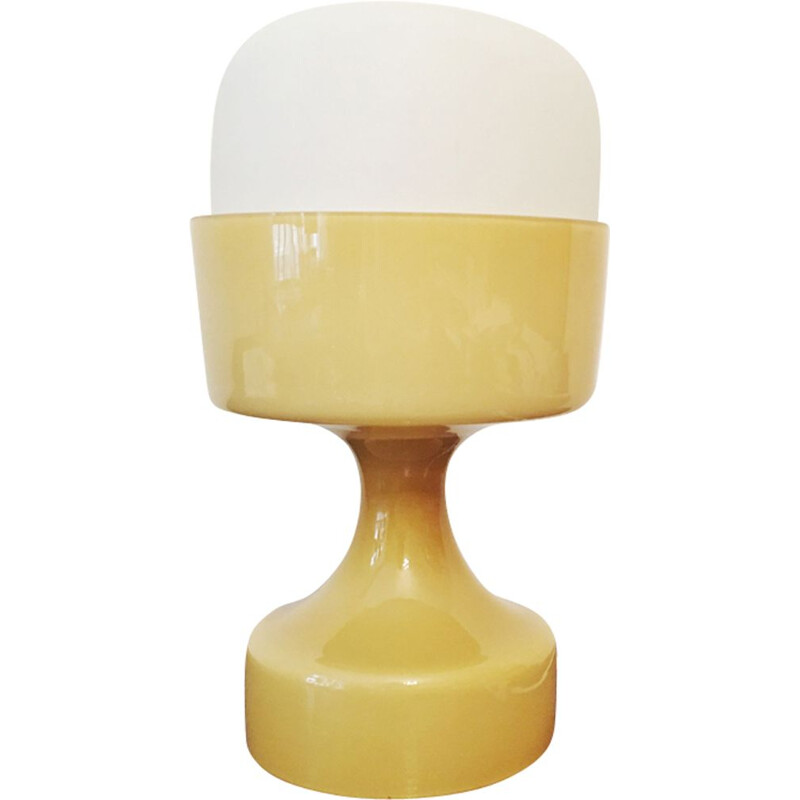 Vintage yellow glass table lamp by Ivan Jakes