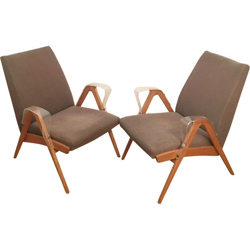 Set of 2 vintage armchairs by Frantisek Jirak