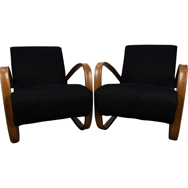 Set of 2 vintage H-269 armchairs by Jindřich Halabala for UP Závody