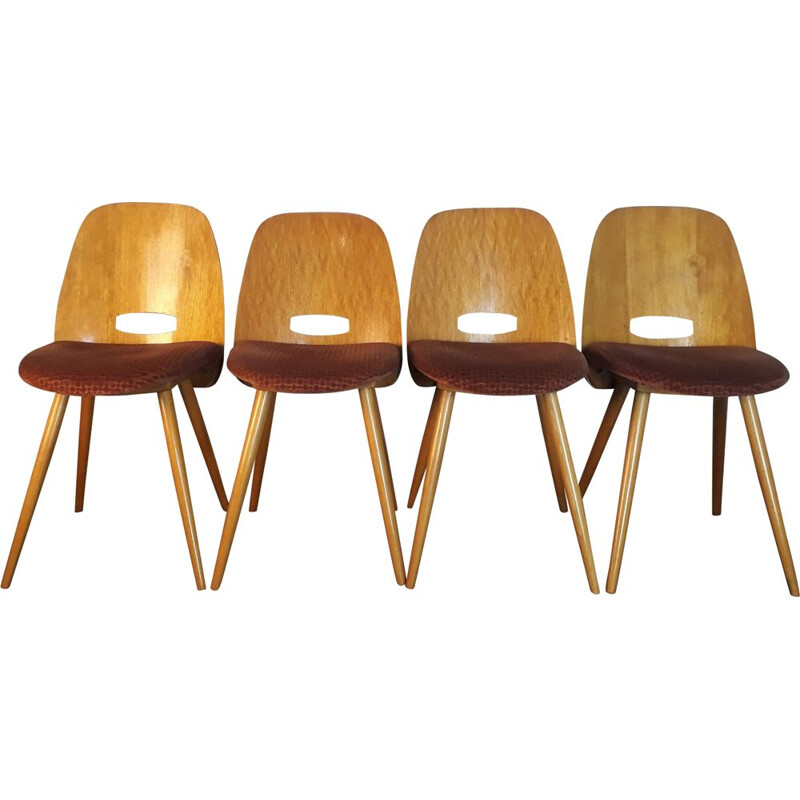 Set of 4 vintage chairs by Jirak by TATRA