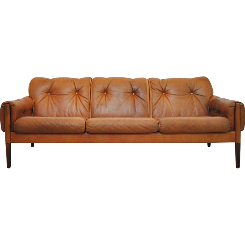 Scandinavian Cognac brown Leather and Rosewood 3 seater sofa
