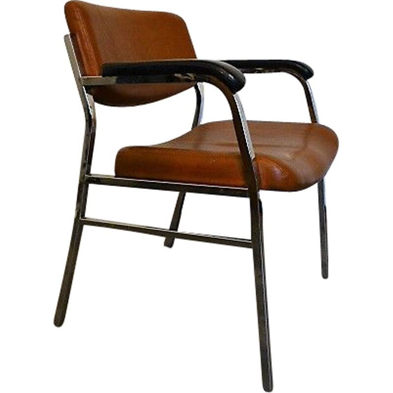 Vintage Brown leatherette and metal armchair