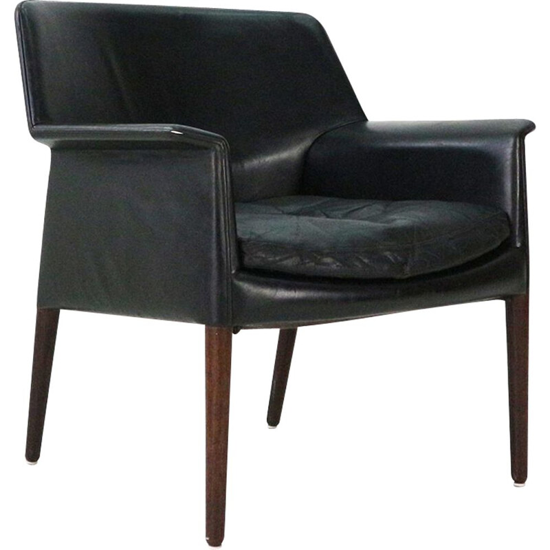 Vintage club chair in leather and rosewood by E. Larsen & A.B. Madsen, 1960